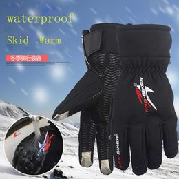 Wholesale Bicycle Winter Gloves Waterproof - Wholesale- Screen Touch Motorcycle Gloves Winter Waterproof Windproof Warm Leather Cycling Bicycle Cold Guantes Luvas Ski Racing Glove