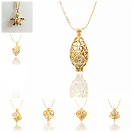 Wholesale Pearl Drop Charm - Gold-Tone Pearl Cage Pendant Necklace Fashion Hollow Drop Love Heart Cube Turtle Charm Pendant Jewelry For Women