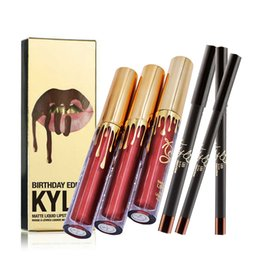 Wholesale Orange Lipgloss - Golden Package free shipping Kylie Jenner Liquid Lipstick Lipgloss Matte Lip liner Lip Gloss Lip Kit Cosmetics Lips Makeup Messages