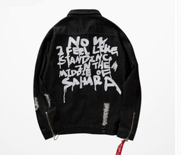 Wholesale Punk Coats - Supremitied Men Ripped Jean Jackets Shoulder Zipper Distressed Denim Jacket Women Slim Fit Streetwear kanye Hip Hop Punk Coats