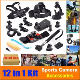 Wholesale Head For Camera - 12 In 1 Travel kit Wrist Strap + Helmet Mount Head Chest Belt Mount + Bobber For Hero 4 3+ 3 2 SJcam EKEN Action Camera H9R H9 H6S + Box