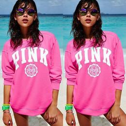 Wholesale Women S Sportswear Fashion - Pink Letter Print Women Cotton Hoodies VS Pink Autumn Sportswear Sweatshirts VS Harajuku Tracksuit Long Sleeve Pullover LJJO2277