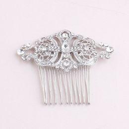 Wholesale Diamonds Hair Comb - High - grade diamond bride hair comb hair combs bridal head ornaments alloy wedding accessories