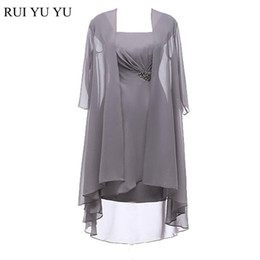 Wholesale Real Silver Coat - Real Model Mother of Bride Dresses with Coat Champagne Chiffon Long Sleeves Mother Dress Plus Size Wedding Formal Wear