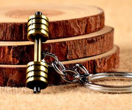 Wholesale Key Finder For Men - Vintage Golden Pendant Weight Dumbbell Gym Sports Charm Keychain For Car Key Ring Handbag Gift Jewelry Accessories AA175