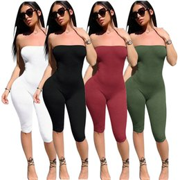 Wholesale Jumpsuit Size Xl - 2018 summer leggings slimming new thin pants 4 color sexy breast jumpsuit size s-xl free shipping