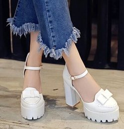 Wholesale Halloween Muffin - New Arrival Hot Sale Specials Knight Catwalk Platform Nightclub Vintage Buckle Roman Muffins Bow Party Large Size Heels Shoes EU34-43