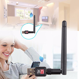 Wholesale Office Card Stock - Wholesale- Mini USB 150M 150Mbps Wireless LAN Adapter 802.11b n g WiFi w  2dBi Antenna Portable Home Office Wireless Network Cards