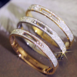 diamond gold bangles for wedding Promo Codes - Crystal Silver color Stainless Steel Bangles For Women Zircon Bangles For Women Wedding Bracelets & Bangles stainless steel jewelry