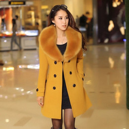 Wholesale Gray Wool Jacket High Collar - 2016 winter women's Double Breasted big fur collar Plus Size Wool Coat long Winter Jackets parka coats Outerwear high quality