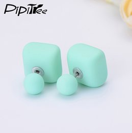 Wholesale matte earrings - 2017 New Matte Square Ball Double Pearl Earrings Female Brand Summer Jewelry Two Side Fashion Cheap Stud Earrings For Women