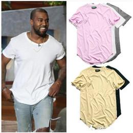 Wholesale Mens Plain Clothing - Free shipping Curved Hem Hip Hop T-shirt Men Urban Kpop Extended T shirt Plain Longline Mens Tee Shirts Male Clothes