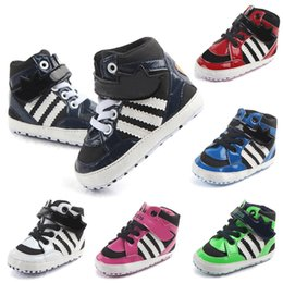 Wholesale Skid Shoes - 2017 New Autumn Baby kids letter First Walkers Infants soft bottom Anti-skid Shoes Warm Toddler Casual shoes 6 colors choose freely