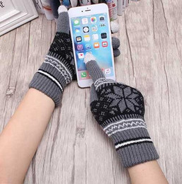 Wholesale Cold Winter Gloves - Popular Warm Winter Thick Gloves Wool Knitted Women Cold Winter Glove Snowflake Full Finger Mittens Mitaine Luvas