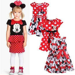 Wholesale Pointed Girl Dress - 2017 New summer kids girl Big Points Mickey Mouse Minnie printing cartoon short-sleeved dress 3style