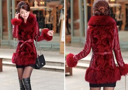 Wholesale Real Leather Coat Hood - Wholesale-2015 women's plus size winter down coat fur hood 4xl genuine leather jacket women with real fur free shipping