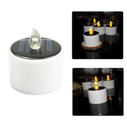 Wholesale New Electronic Candle - 6 Pieces Lot New Type Yellow Flicker Solar Power LED Light Candles Flameless Electronic Solar LED Nightlight Solar Energy Candle