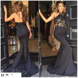 Wholesale China Custom Made Prom Dresses - Black Halter Prom Dresses Mermaid Open Back Special Occasion 2017 Evening Party Gowns Made In China Vestidos Largos De Fiesta Elegante