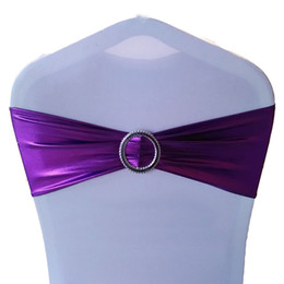 Wholesale Party Supplies Chair Covers - Chair Sash Bands Spandex Elastic Chair Cover Sashes Bows Buckle Sashes for Weddings Party Home Party Supplies JM0306