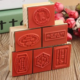 Wholesale Stamp Postcard Set - Wholesale- KiWarm 6pcs set Excellent Modern Design Vintage travel Wooden Rubber Stamp Scrapbooking Craft Diary Postcard DIY Set Decor