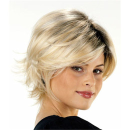 Wholesale Black Heat Resistant Bob Wig - Black blonde ombre bob wig with bang Heat resistant fiber synthetic wig capless fashion wig for women free shipping