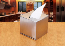 Wholesale Tissue Box Stainless - Wholesale- Kitchen Table Decoration Accessories Stainless steel square rectangle roll paper Tissue Boxes case free shipping