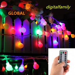 Wholesale Frosted Globe Lights - NEW 16 Feet 50 LED Outdoor Globe String Lights 8 Modes Battery Operated Frosted White Ball Fairy Light dimmable Ip65 Waterproof