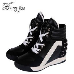 Wholesale Hides For Sale - Wholesale-Hot Sales New 2016 Autumn Rivets Black White Hidden Wedge Heels Casual Shoes Women's Elevator High-heels boots For Women 7D03