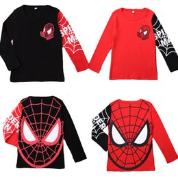 Wholesale Striped Boys Shirt - hot selling big promotion boys girls spiderman hoodies long-sleeved t-shirts swearshirts fashion style top casual sports outwear 3-8T