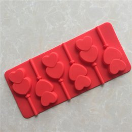 Wholesale Double Chocolate Moulds - Double love silicone lollipop mold DIY baking color bright and easy to mold a high quality chocolate mold