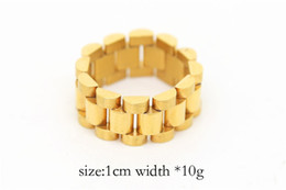Wholesale Gift Ring Watch Chain - Hip hop Men Stainless steel Chain Punk Style 24k Gold Three Row Watch Strap Golden Rings Fashion Party Jewelry Gift