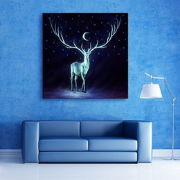 Wholesale Stretched Oil Paintings - The Deer Under The Moon LED Canvas Print Stretched Lights LED Print One Pcs For Home Decor Office Hotel Room Decor Art