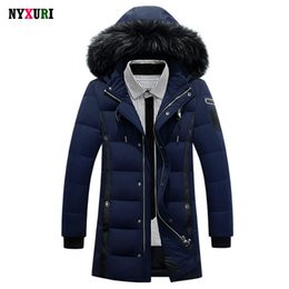 men sequined hats Promo Codes - Wholesale- New 2016 Down Coat Luxury Men Casual Hooded Solid Color 90% White Duck Down Parkas Warm Long Male Winter Jacket Fur Plus Size