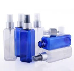 Wholesale Beautiful Empty Spray Bottle - Free shipping 300pcs lot 100ml PET Plastic empty beautiful perfume water SPRAY bottle square bottles BLUE D COLOR
