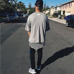 Wholesale T Shirts Long Sides - Fear Of God T Shirt 2018SS Justin Biebe Loose Design Solid Color FOG T-shirts Skateboard Hip Hop Sided Wear Fear Of God T-Shirt