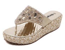 Wholesale Sew Back Flat Rhinestone - New 2017 Bohemia Wedge Women Sandals Summer Vintage Rhinestone Woman Flip Flops Beach Women Shoes Pinch sandals size35-40