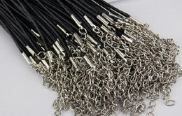 Wholesale Diy Extender - Cheap Black Wax Leather Snake Necklace Beading Cord String Rope Wire 45cm Extender Chain with Lobster Clasp DIY jewelry component
