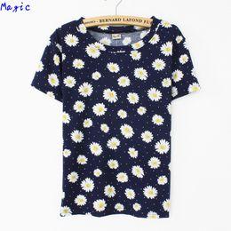 Wholesale Purple Chrysanthemum Flower - Wholesale- [Magic] Beautiful chrysanthemum flowers printing women short sleeve t shirt new style summer t-shirt 3 color free shipping