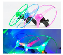 Wholesale Toys Spin Flying Saucer - 1pcs Spin UFO LED Light Outdoor Toy Frisbees Flying Saucer Helicopter Colorful LED Large (Color: Multicolor)