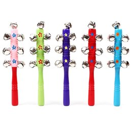 Wholesale Baby Stick Rattles - Wholesale- Baby Rattle Rainbow Toy kid Pram Crib Handle Wooden Activity Bell Stick Shaker Rattle Baby Gift