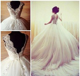 Wholesale Eyelash Lace Dress - Vintage Ball Gown Wedding Dresses 2017 Winter Vestidos De Noiva Luxury Sequins Beads Appliques V Neck Bridal Gowns Eyelash Lace Dress 2018