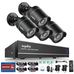 Wholesale Security System 4ch Wifi - SANNCE 4CH Output Onvif Supported DVR Waterproof 720P 1.0MP Night Vision Camera CCTV System Surveillance Kits With 4 Cameras Security wifi