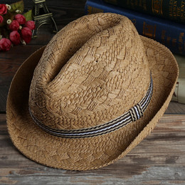 Wholesale Khaki Fedora Hat - Men and Women Panama Straw Hats Fedora Stingy Brim Hats Soft Vogue For Unisex Summer Sun Beach Caps Linen Jazz Hats