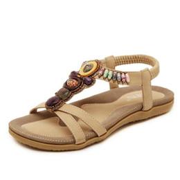 Wholesale Fahion Shoes - 2017 New Arrival Fahion women shoes bohemia flat heel elastic band sandals shoes casual shoes plus size flip flops free shipping