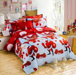 Wholesale King Size Santa Claus Bedding - Hot Christmas 3pcs Duvet Cover Sets 3D Cartoon Kids Children Bedding Sets Santa Claus Gift Duvet Cover & Pillowcase Twin Queen King Size
