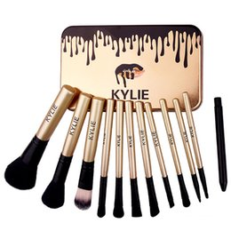 Wholesale Foundation Bb Cream - Kylie Jenner Makeup Brushes Kit 12pcs set Cosmetic Foundation BB Cream Powder Blush Makeup Tools With Iron box Free DHL WX-B32