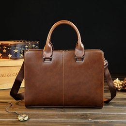 Wholesale Vinyl Canvas - New men's handbags crazy horse PU bag man briefcase personality business bag classic Shoulder Messenger