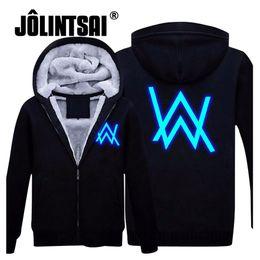 Wholesale Luminous Long Sleeve - Wholesale- Jolintsai 2017 Hoody Hoodies Men Winter Jackets and Coats Faded Alan Walker Hoodie M-5XL Luminous Thick Zipper Men Sweatshirts