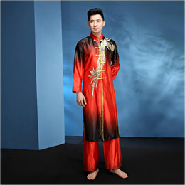 Wholesale China Dance Clothes - New design Man Chinese Folk Dance China Kung Fu Costume Male Dance Costumes Spring Festival Stage Martial arts Performance Clothes