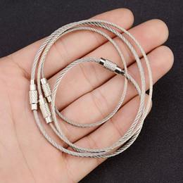 Outil anneau de verrouillage en Ligne-15cm en acier inoxydable fil porte-clés câble pendentif boucle outils de boucle avec serrure pour randonnée en plein air escalade de travail